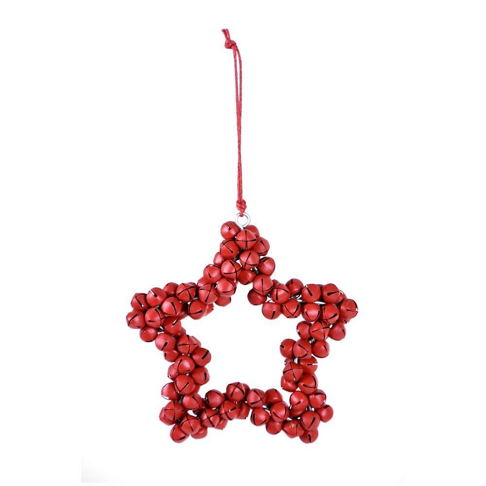 Červená závěsná dekorativní hvězda z kovových rolniček Ego Dekor Bells, výška9,5cm