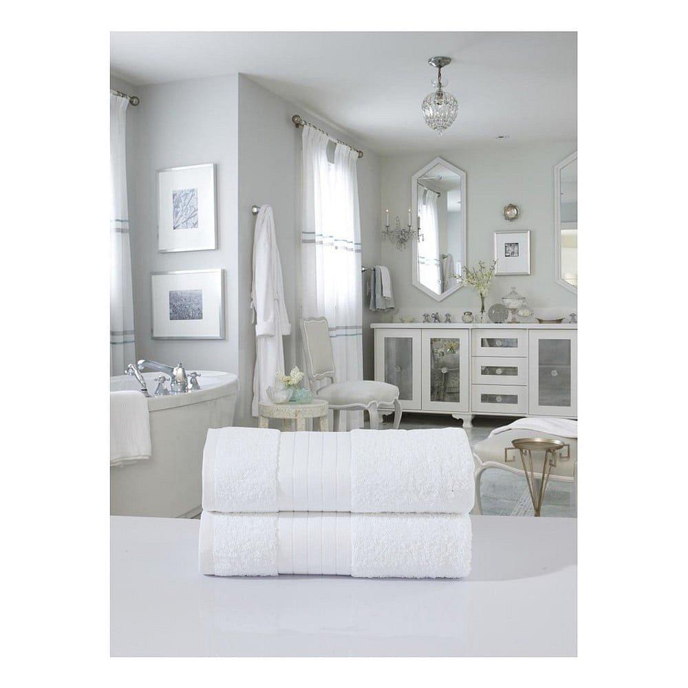Sada 2 bílých bavlněných osušek Uni, 70 x 140 cm