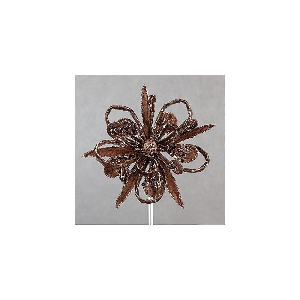 Hnědá vánoční plastová dekorace ve tvaru květu DecoKing Natu
