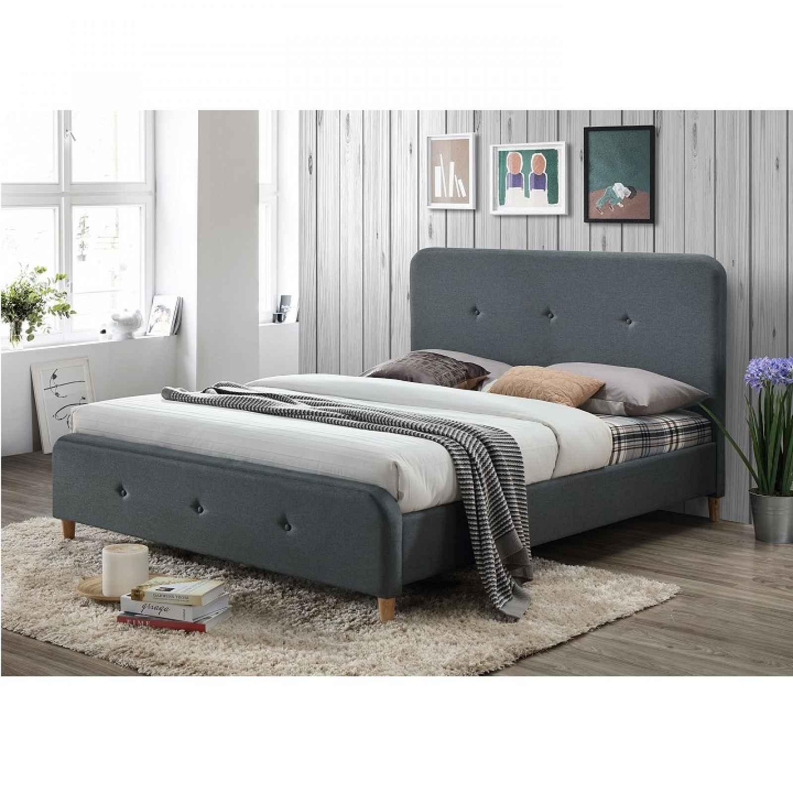 Manželská postel, tmavě šedá, 160x200, COLON NEW 0000229274 Tempo Kondela