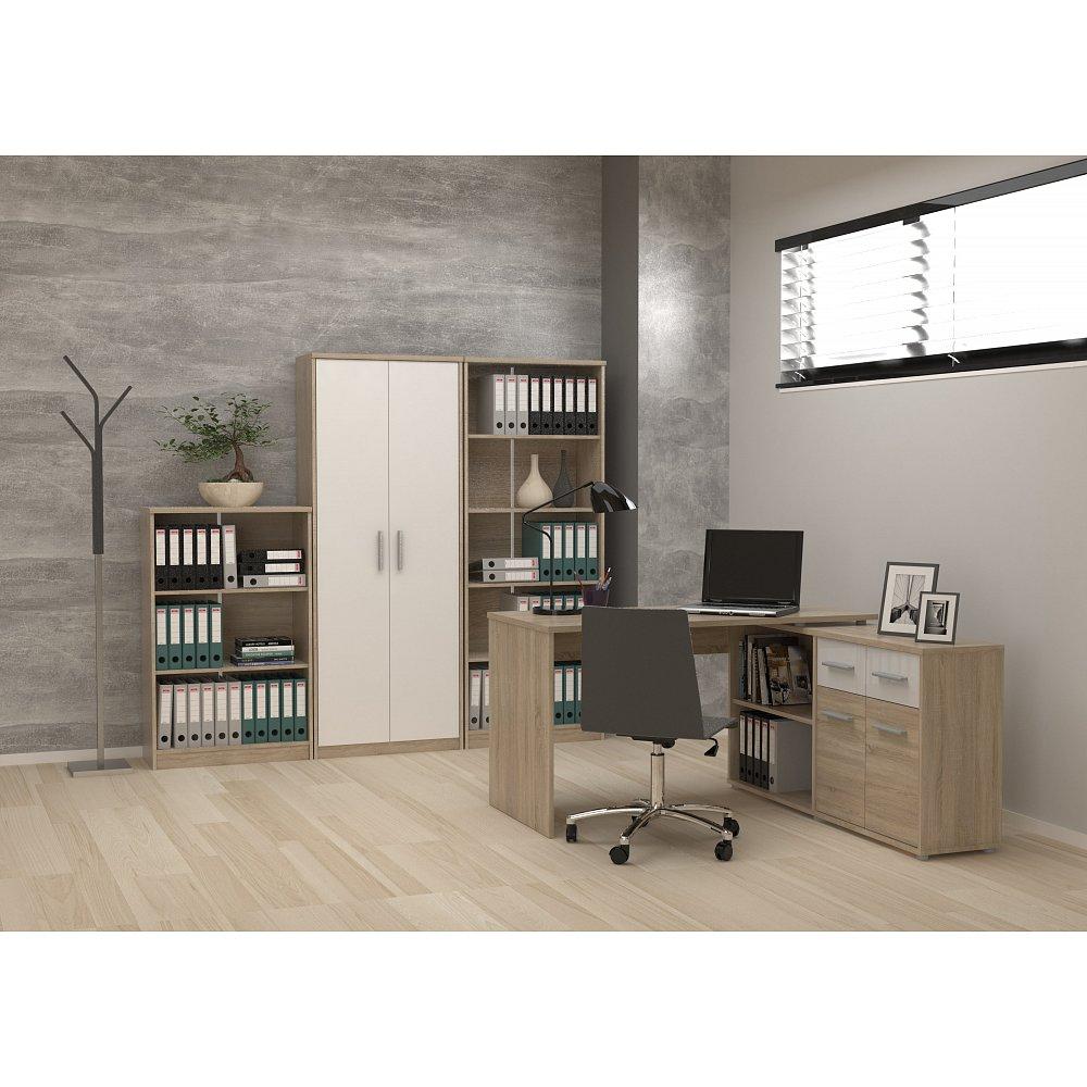 Kancelářská sestava GIANNI s rohovým stolem DUKE, dub sonoma/bílá