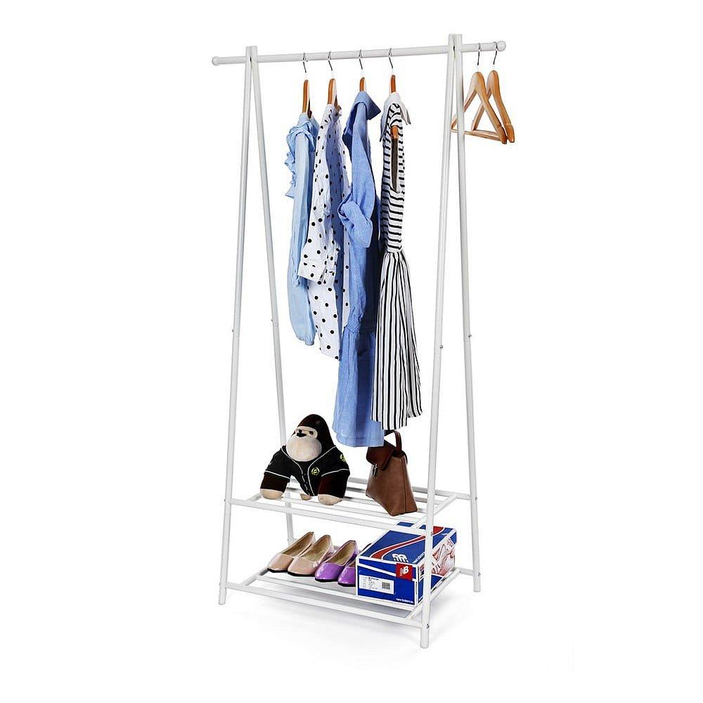Bílý kovový stojan s 2 policemi na oblečení Songmics