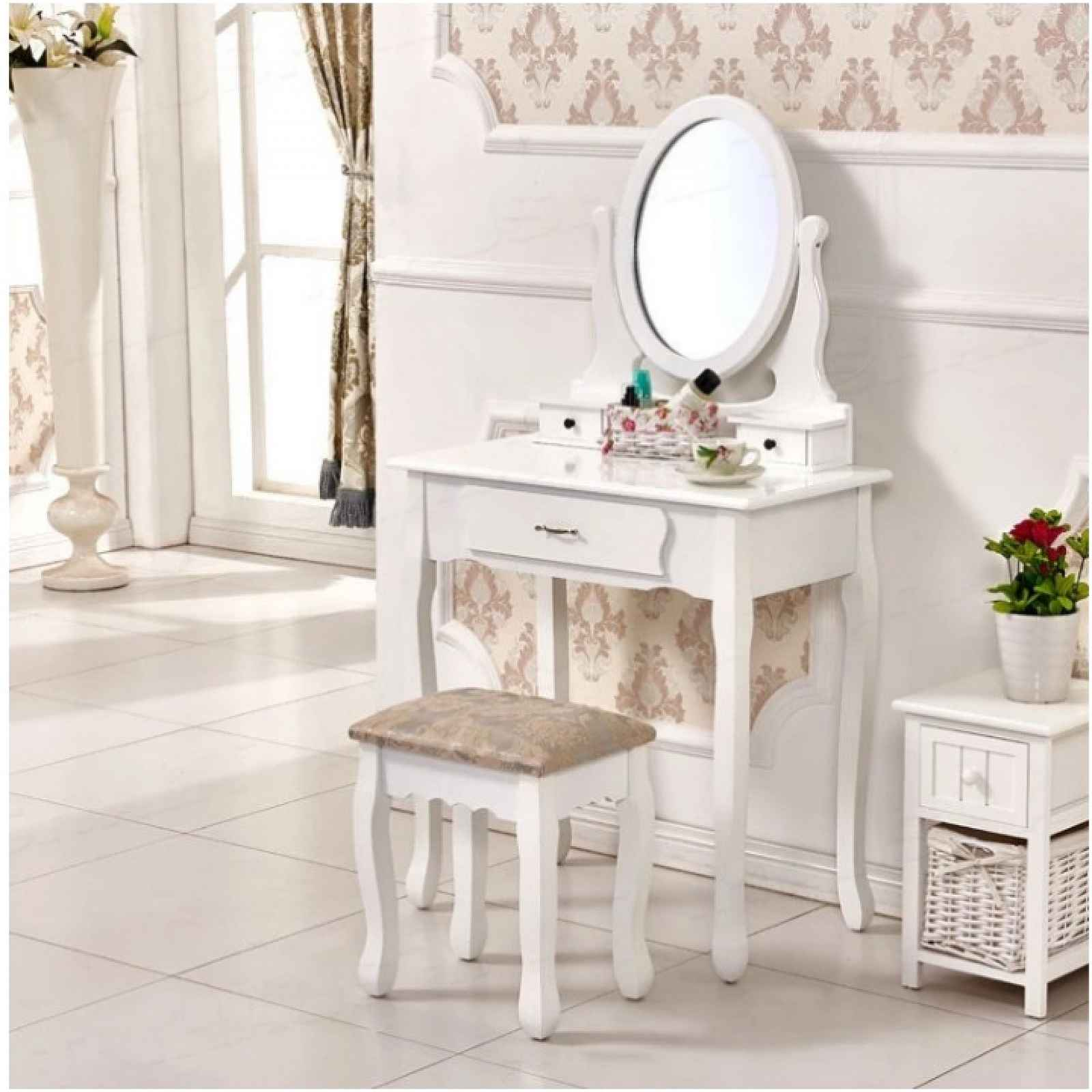 Toaletní stolek s taburetem, bílá / stříbrná, LINET New 0000228273 Tempo Kondela