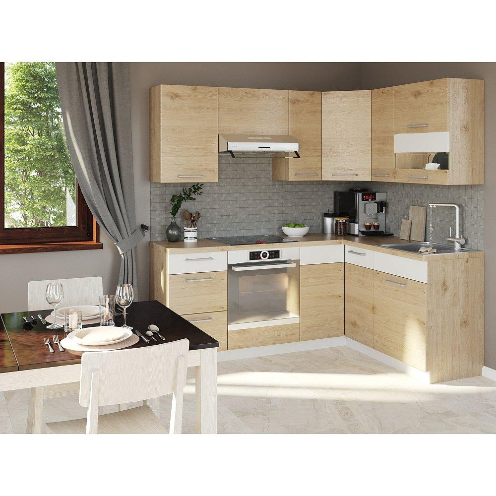 Rohová kuchyně MODENA 195x150 cm, buk/bílý lesk