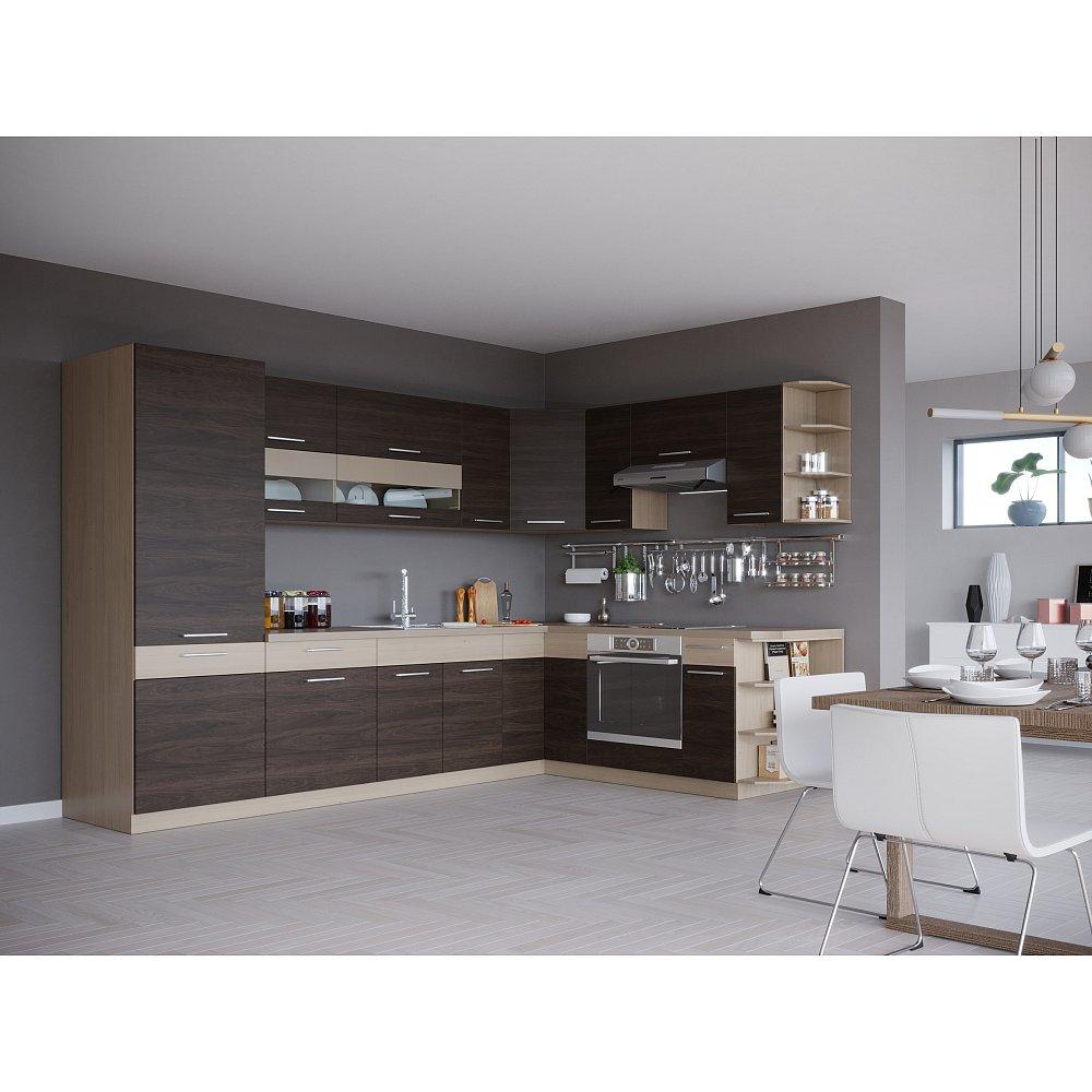 Rohová kuchyně MODENA 290 x 215 cm, rijeka tmavá