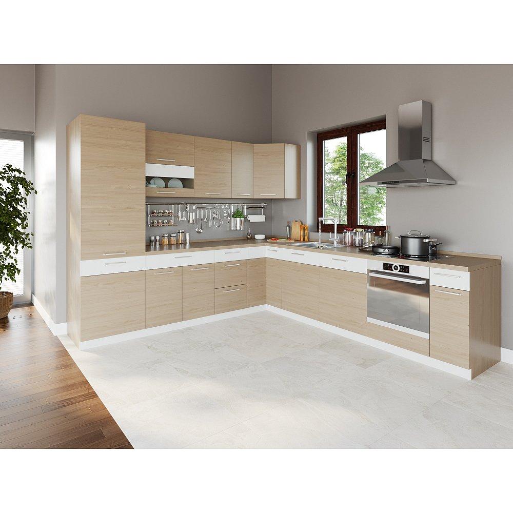 Rohová kuchyně MODENA 275x300, buk/bílý lesk