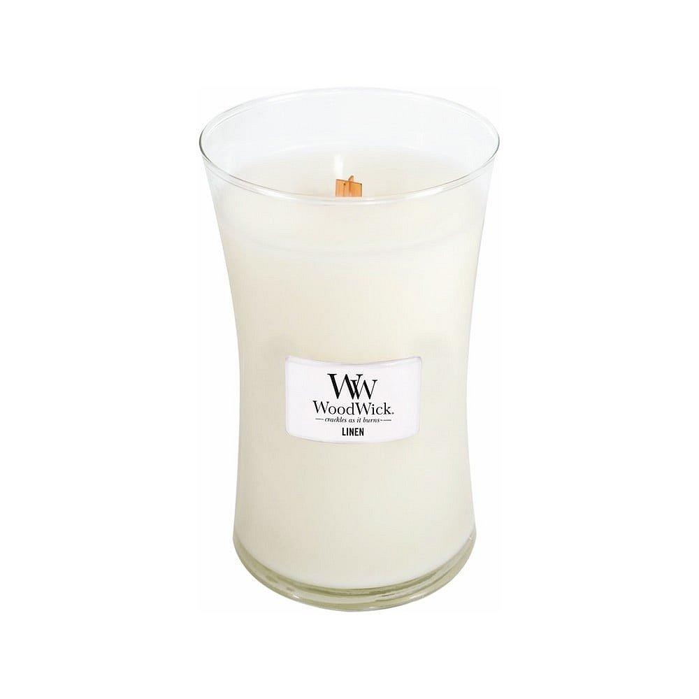 Svíčka s vůní čerstvě vypraného prádla WoodWick Čisté prádlo, dobahoření110hodin