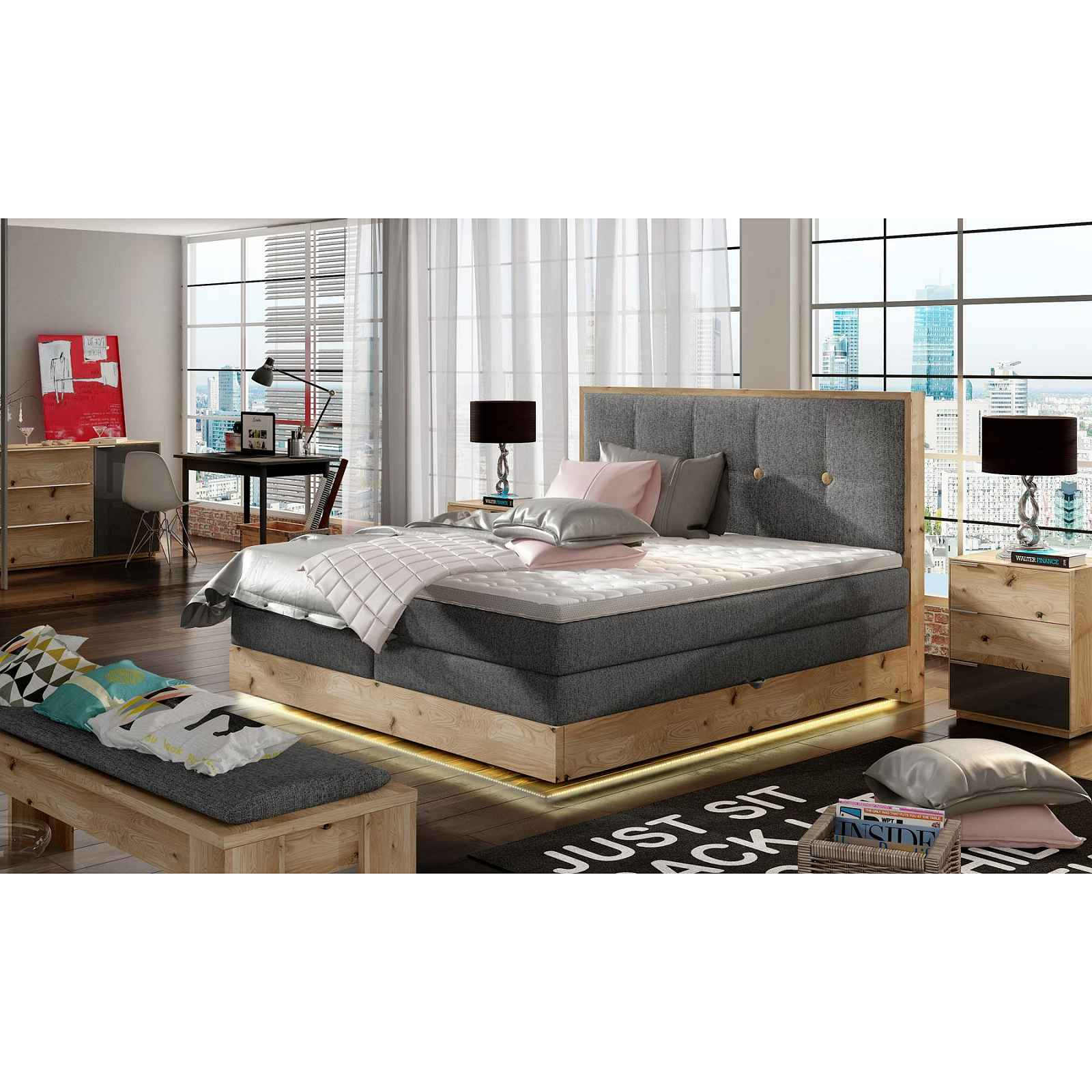 Luxusní box spring postel Esko 180x200 + LED HELCEL