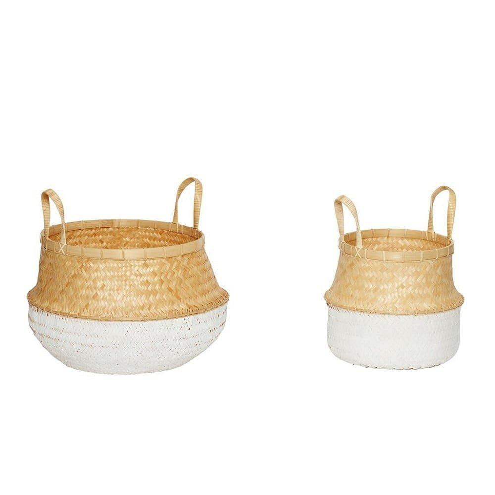 Sada 2 bambusových košů s ratanovými detaily Hübsch Diana