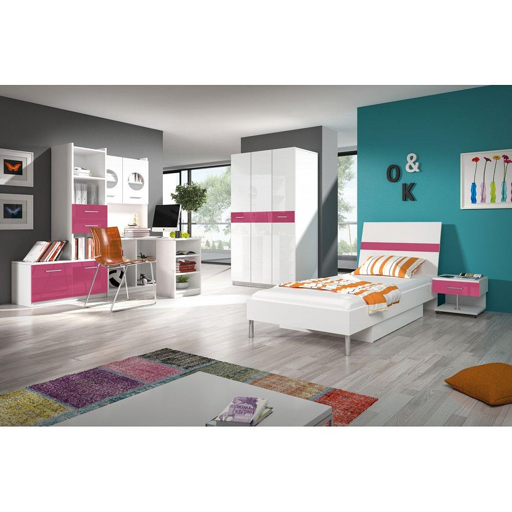Dětský pokoj RAJ 1, bílá/růžový lesk