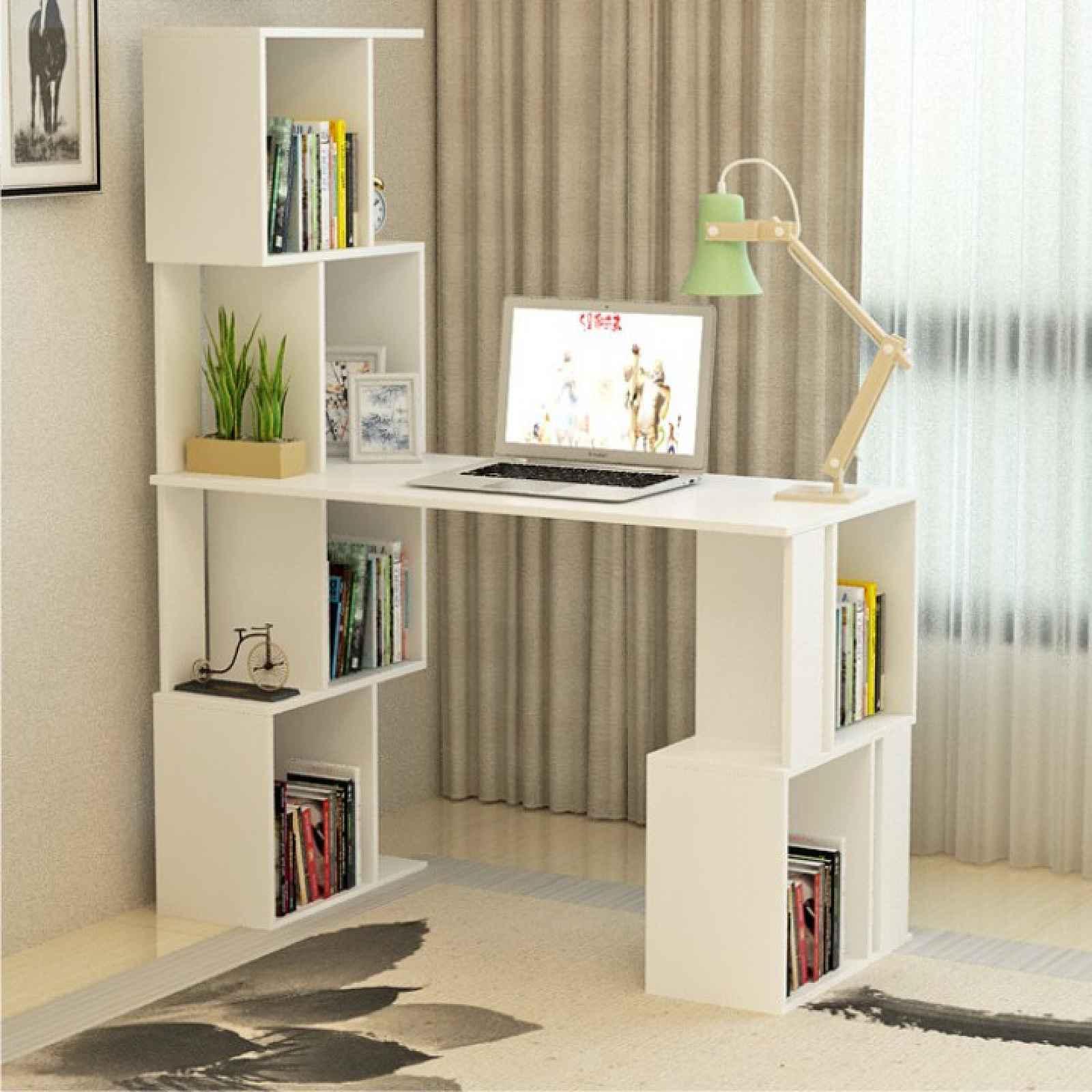 PC stůl s regálem, bílá, FLOKI NEW 0000230196 Tempo Kondela