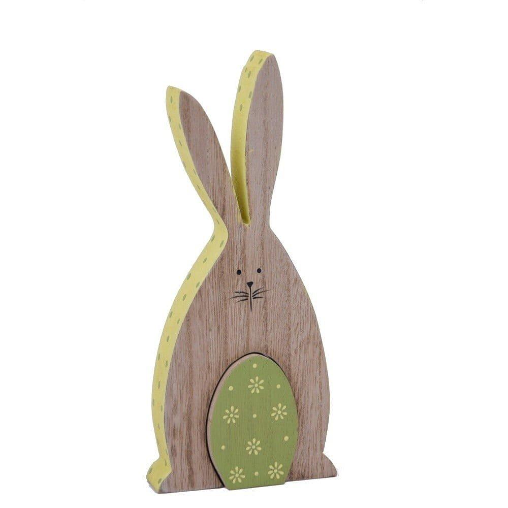 Dřevěná dekorace ve tvaru zajíčka Ego Dekor, 9,5 x 20 cm