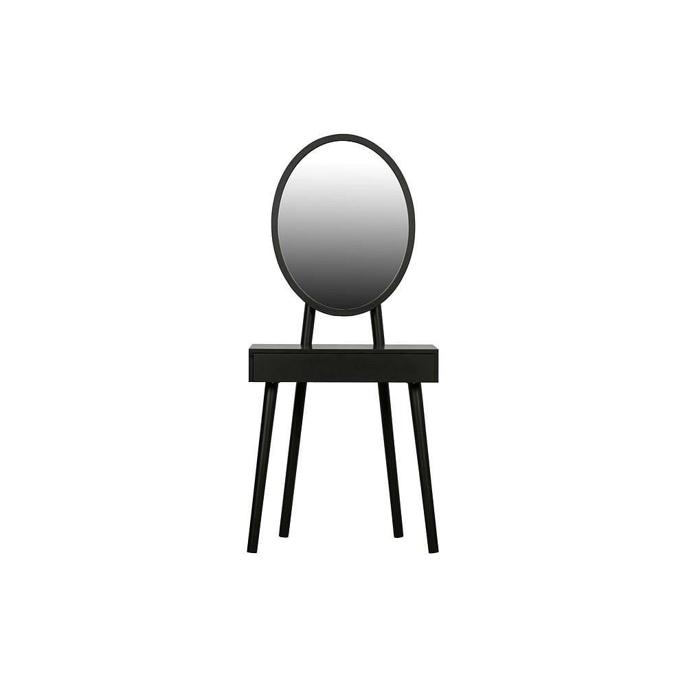 Černý toaletní stolek s nohami z borovicového dřeva WOOOD Vanity