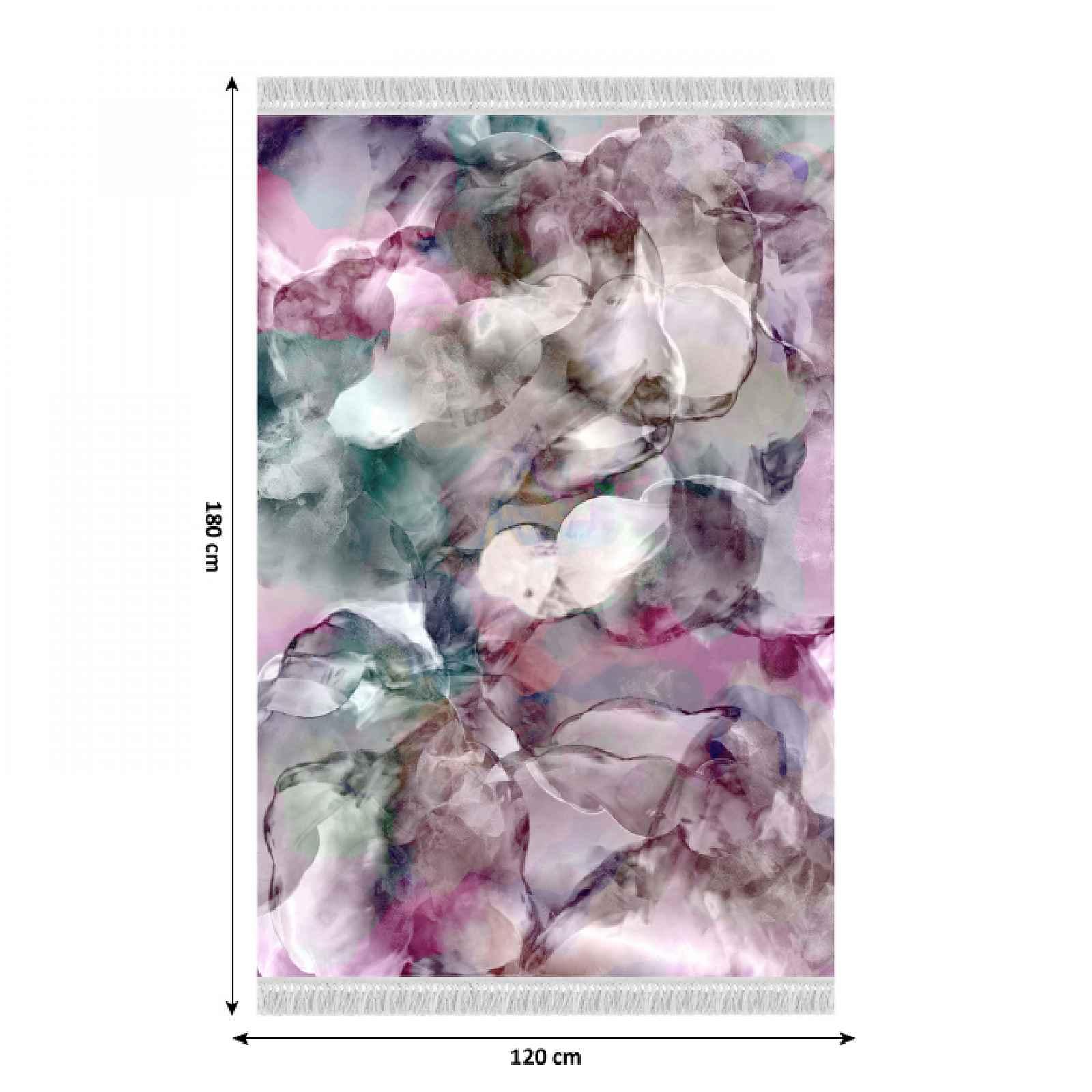 Koberec DELILA s třásněmi růžová / zelená / krémová Tempo Kondela 120x180 cm