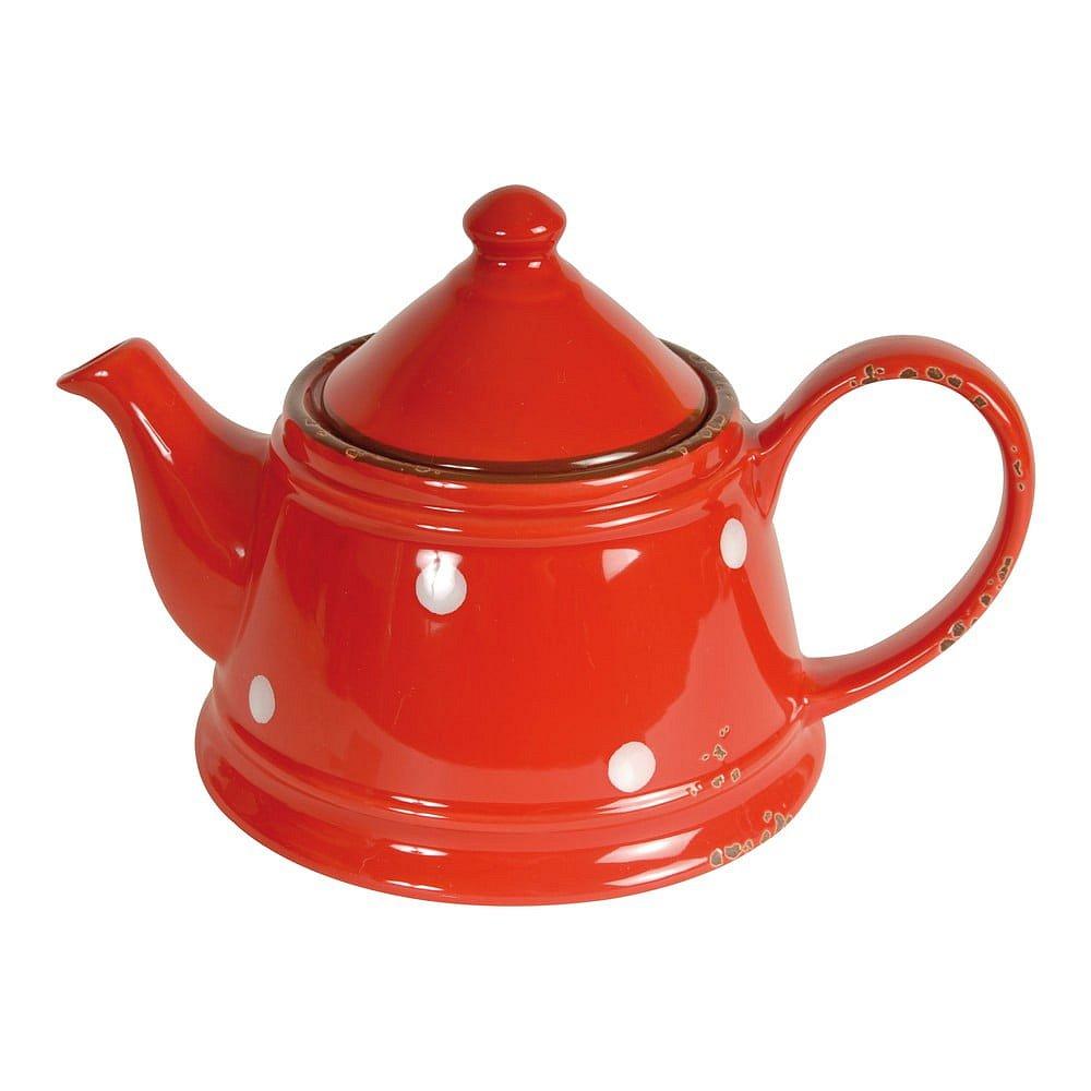Červená keramická konvice Antic Line Tea Red, 480 ml