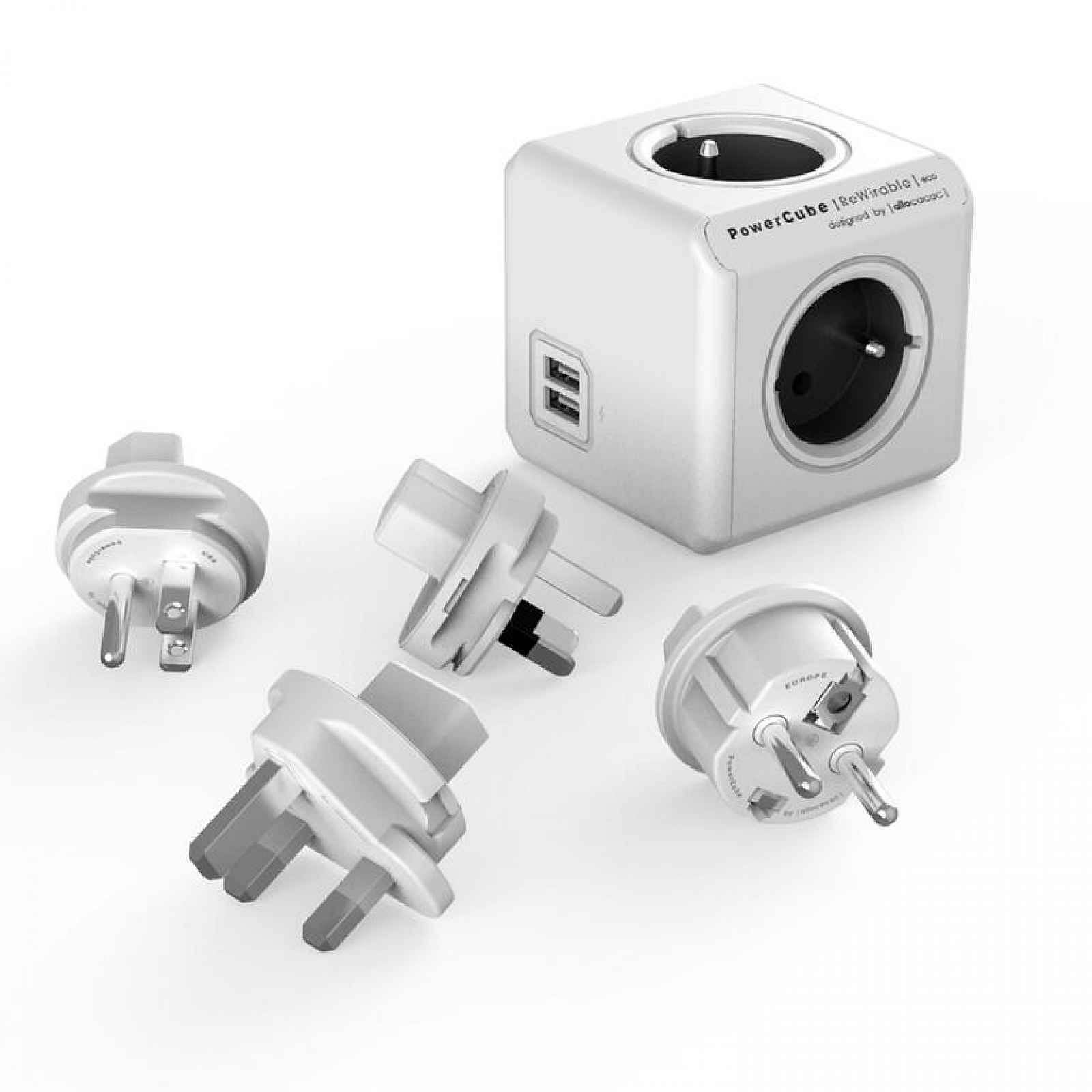Rozbočovač PowerCube Rewirable USB šedý + cestovní adaptéry