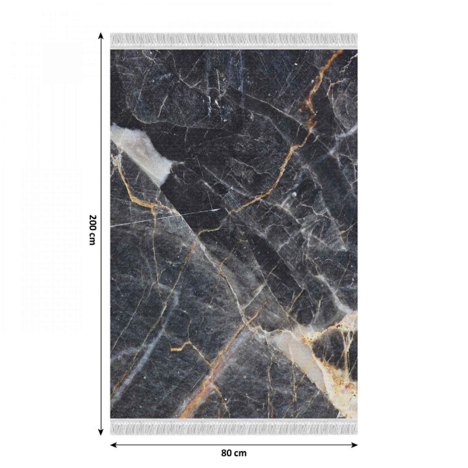 Koberec s třásněmi RENOX TYP 1 černý mramor Tempo Kondela 80x200 cm