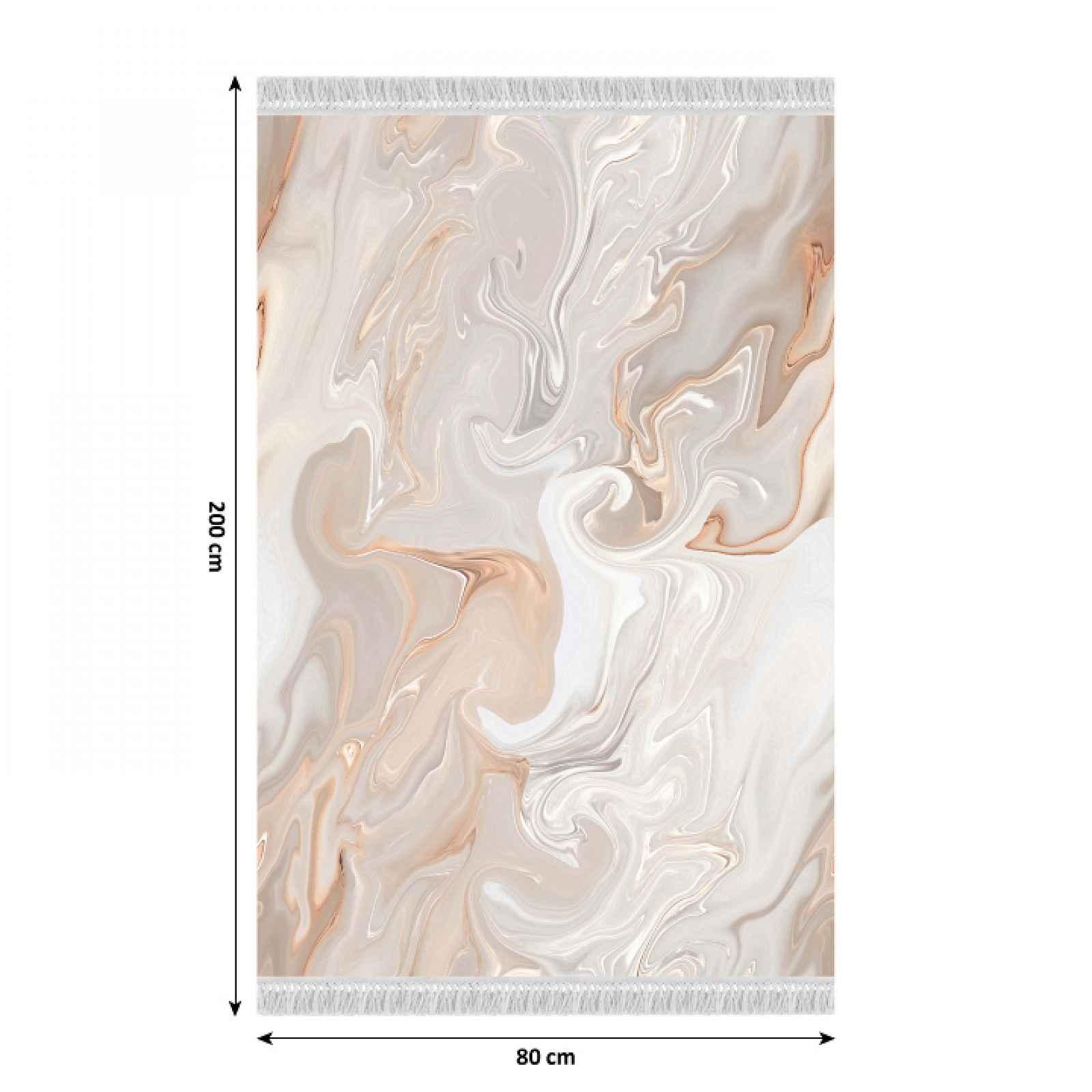Koberec s třásněmi RENOX TYP 2 béžová / krémová / bílá Tempo Kondela 80x200 cm