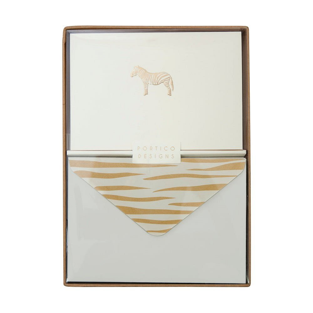 Sada 10 komplimentek s obálkami Portico Designs Zebra