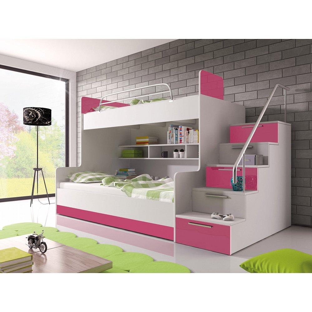 Patrová postel RAJ 2 pravá, bílá/růžový lesk