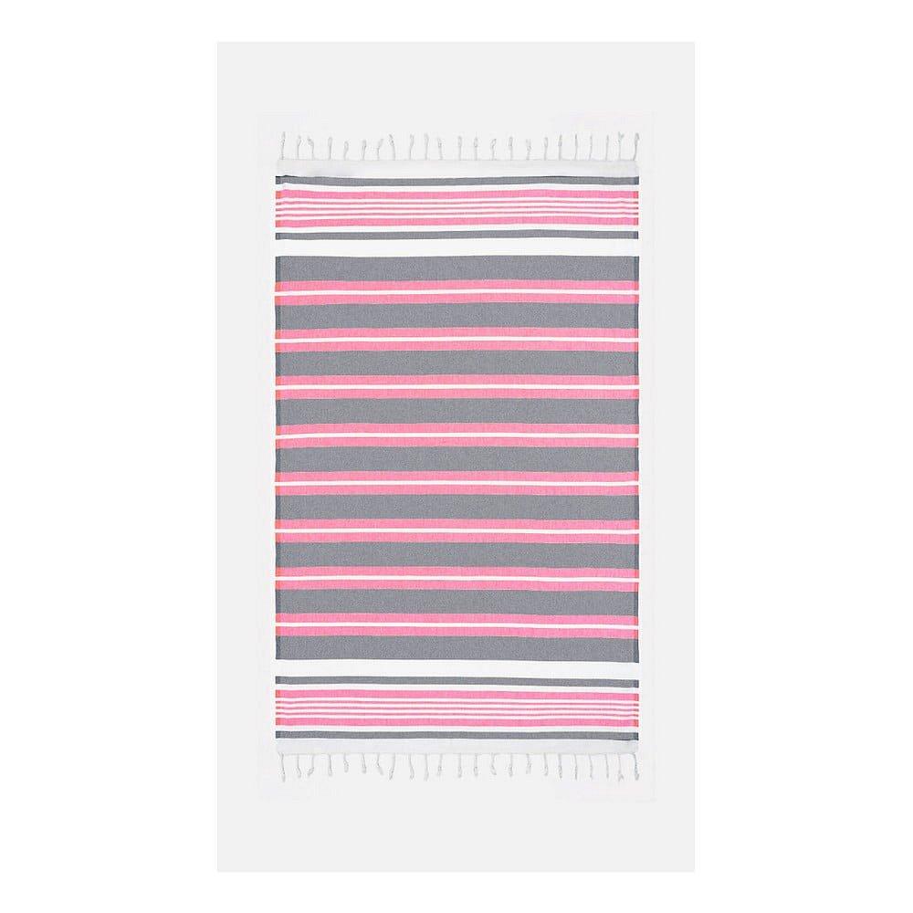 Růžovo-šedá osuška s příměsí bavlny Kate Louise Cotton Collection Line Pink Grey, 100 x 180 cm