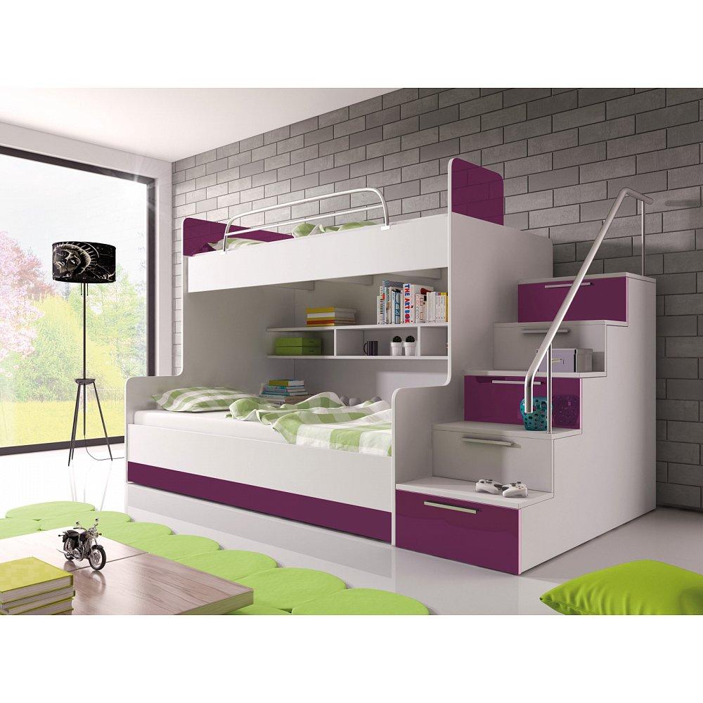 Patrová postel RAJ 2 pravá, bílá/fialový lesk