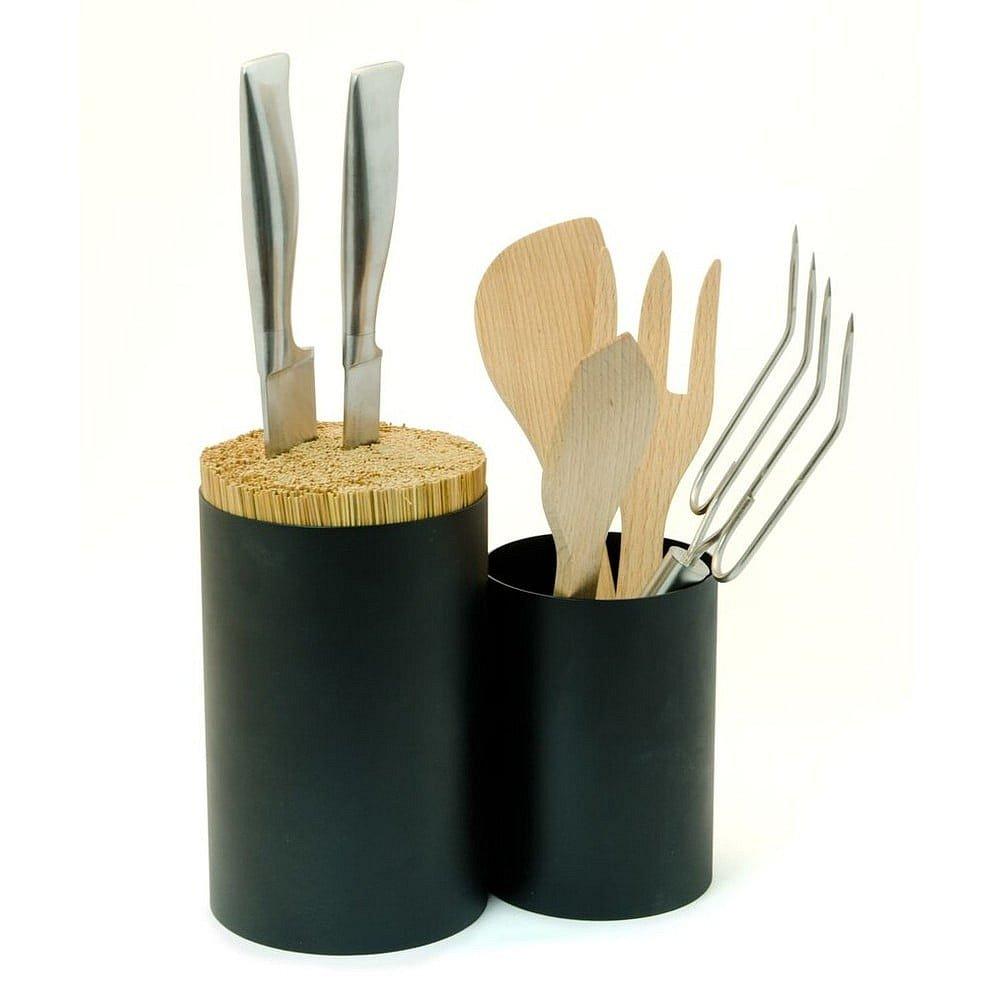 Černý blok na nože a kuchyňské náčiní z bambusového dřeva Wireworks Knife&Spoon