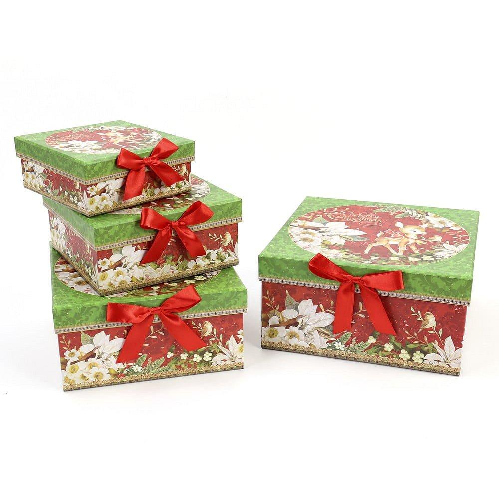 Sada 4 dárkových krabiček Unimasa Square, 23x23cm