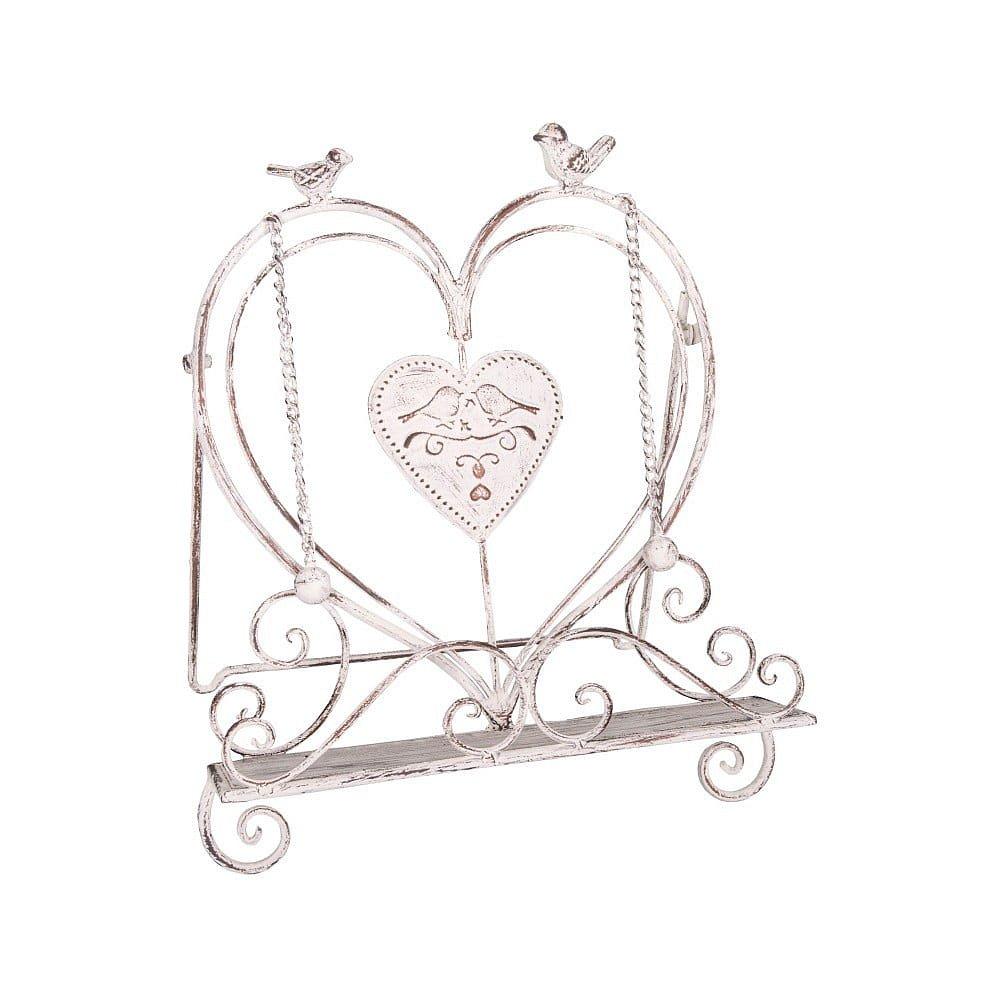 Bílý železný stojan na knihu Antic Line Sweet Love