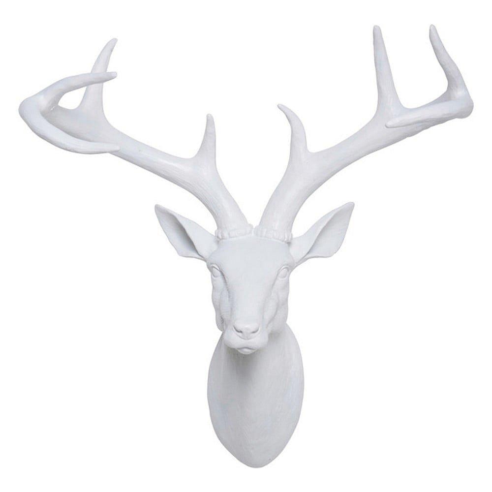 Bílá dekorativní busta ve tvaru jelena Kare Design Deer, 40 x 45 cm
