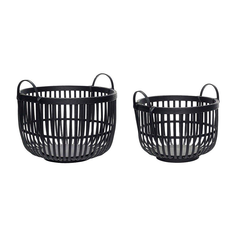 Sada 2 černých úložných bambusových košíků Hübsch Nero
