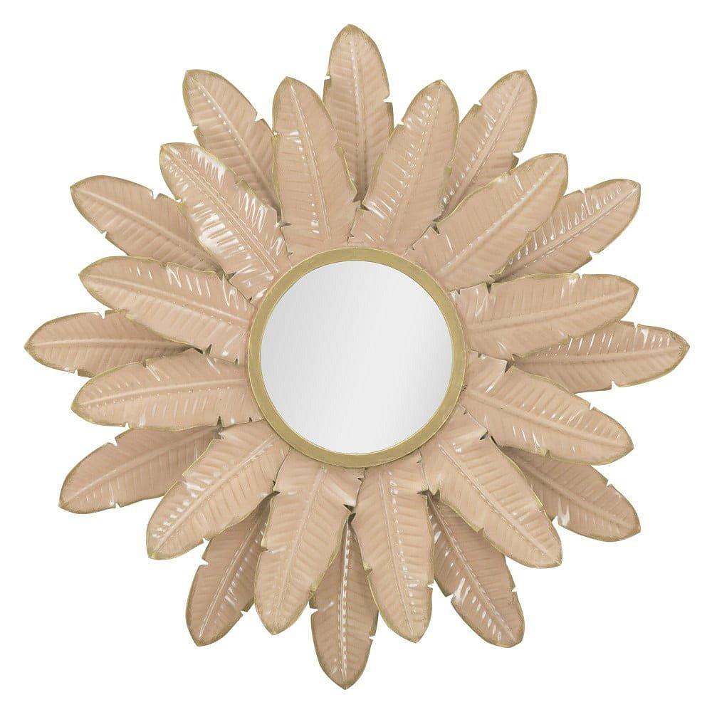 Růžové nástěnné zrcadlo Mauro Ferretti Palm, ⌀64,5cm