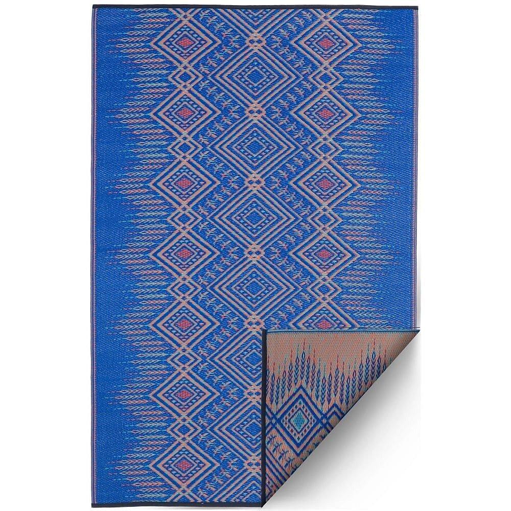 Modrý oboustranný venkovní koberec z recyklovaného plastu Fab Hab Jodhpur Multi Blue, 90 x 150 cm