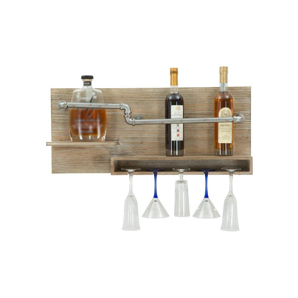 Nástěnný držák na lahve a sklenice Mauro Ferretti Pipe Bar, 30x70cm