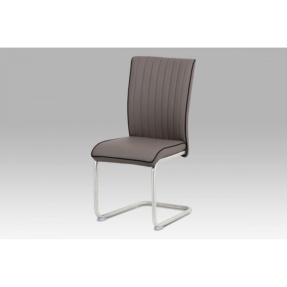 Jídelní židle HC-393 CAP, cappuccino koženka/broušený nerez