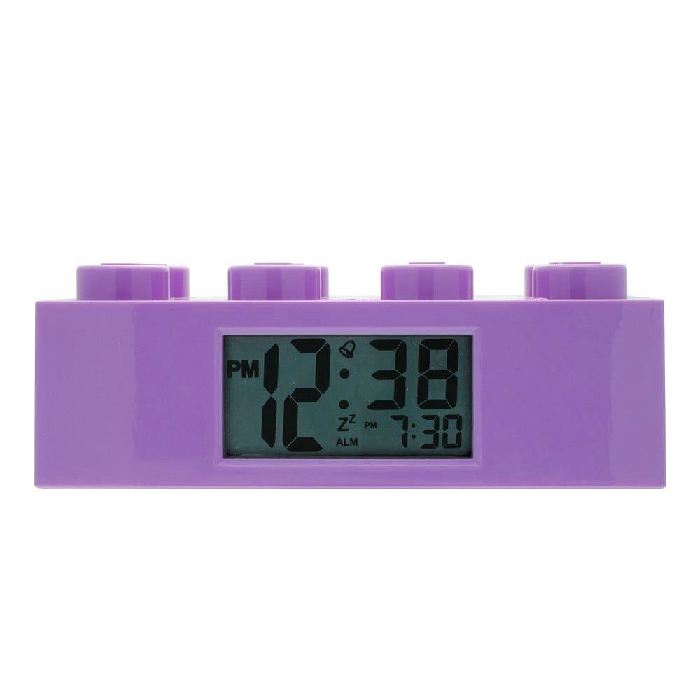Fialové hodiny s budíkem LEGO® Brick