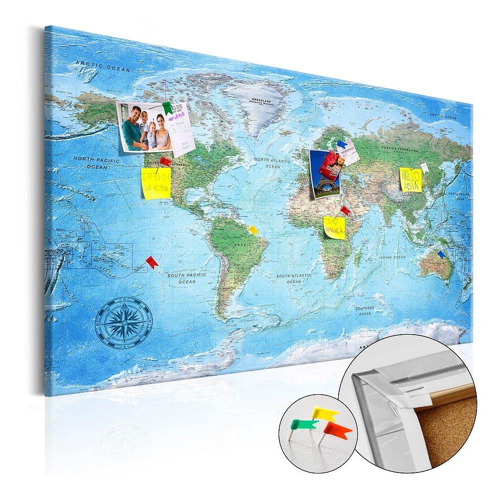 Nástěnka s mapou světa Bimago Traditional Cartography, 90x60cm