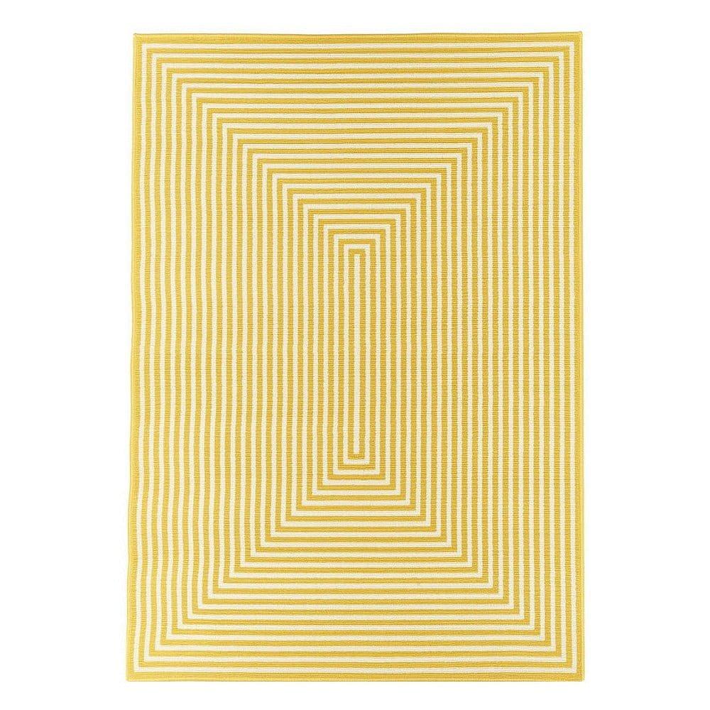 Žlutý venkovní koberec Floorita Braid, 133 x 190 cm
