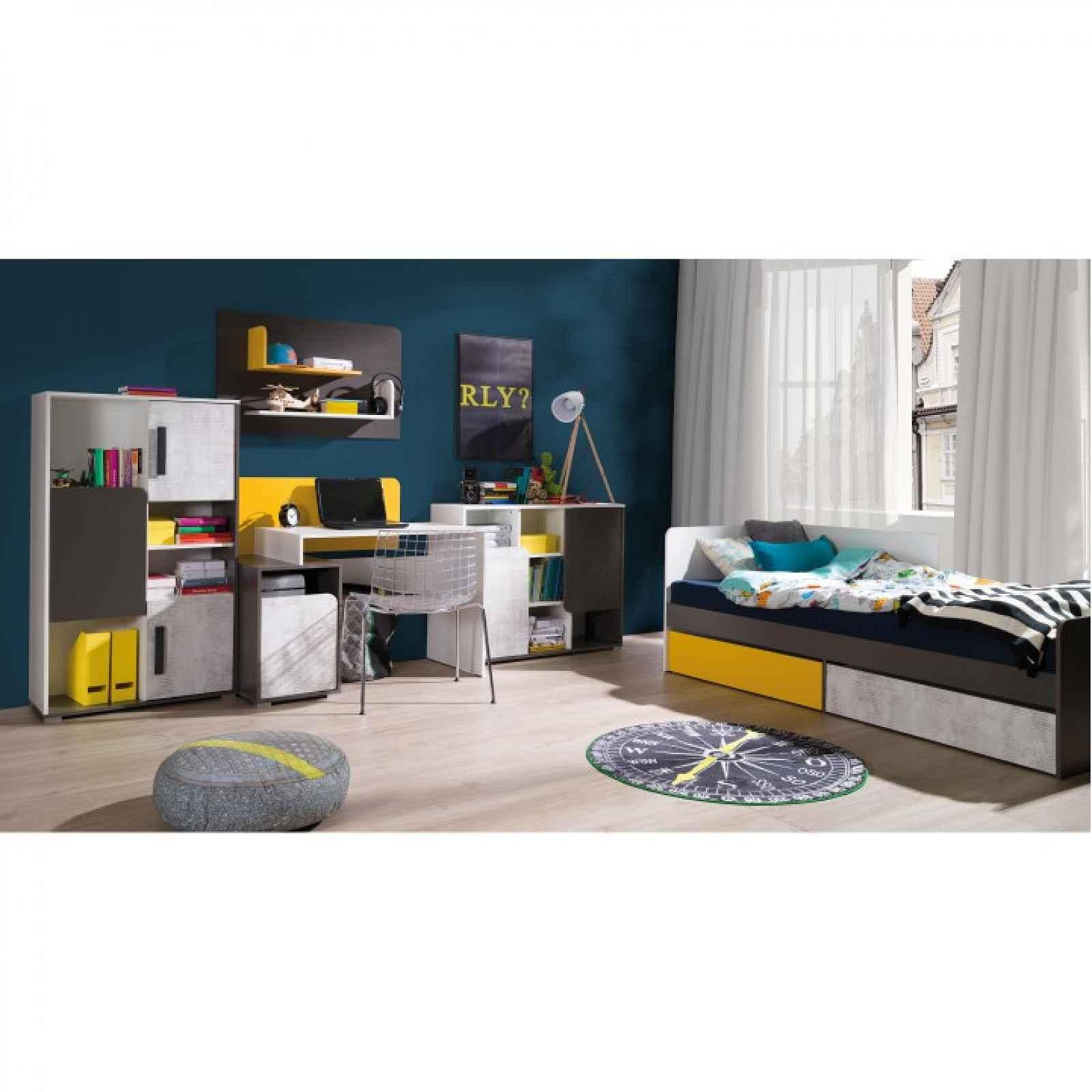 PC stůl B8, bílá/šedý grafit/enigma/žlutá, MATEL 0000237183 Tempo Kondela