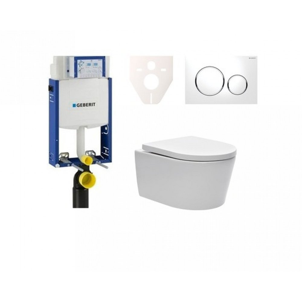 Závěsný set WC TESI rimless, nádržka Geberit Kombifix, tlačítko bílé 110.302.00.5NE4