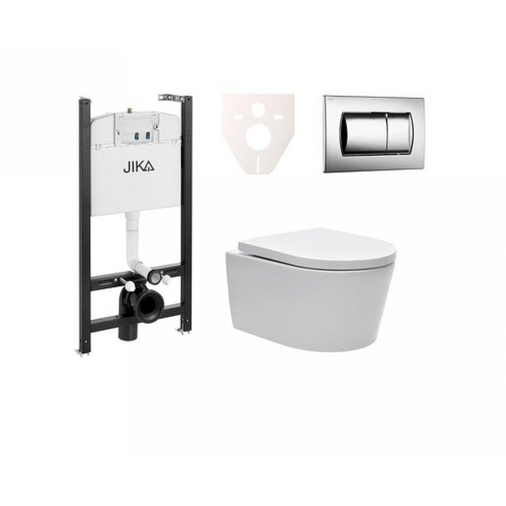 Závěsný set WC SAT Brevis, nádržka JIKA, tlačítko CR lesk SIKOJSW2