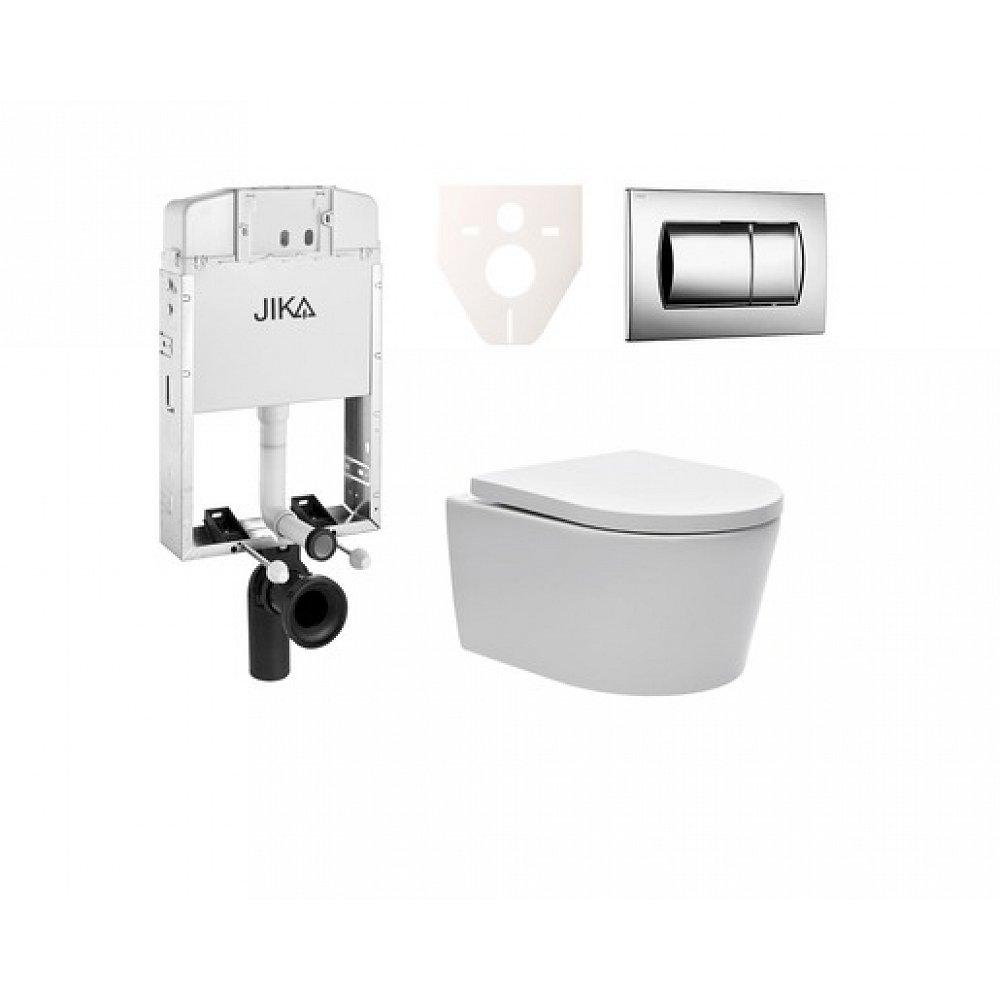 Závěsný set WC SAT Brevis, nádržka JIKA, tlačítko CR lesk SIKOJW2