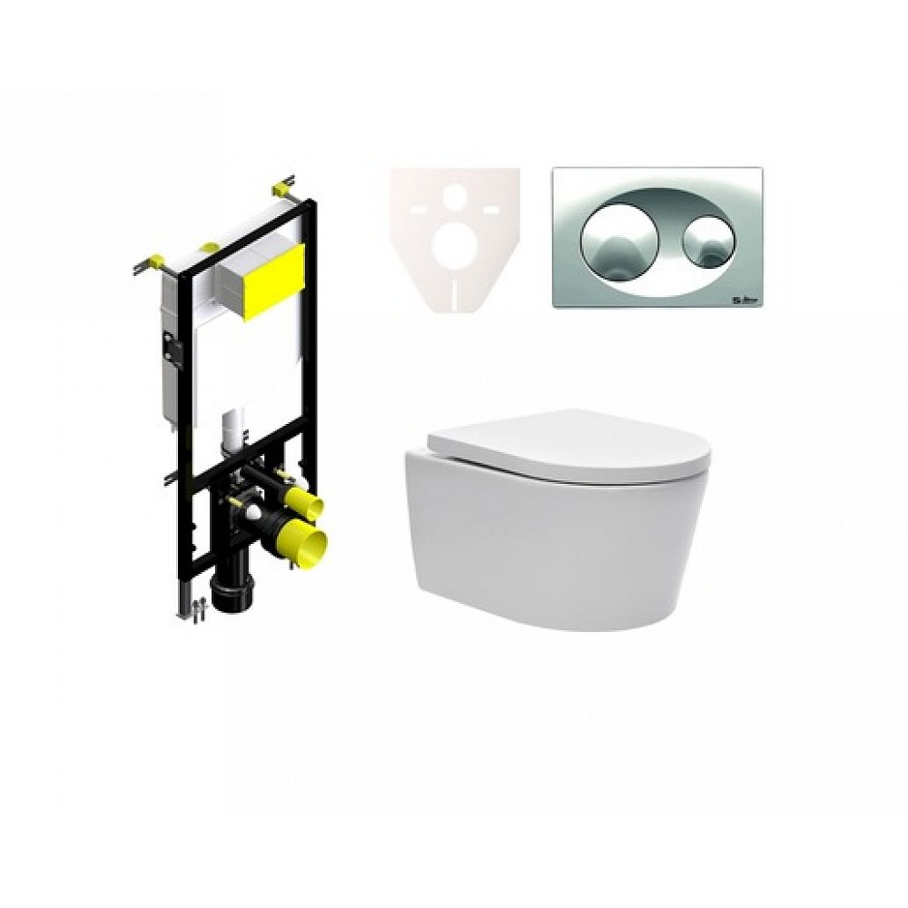 Závěsný set WC SAT Brevis, nádržka SIKO, tlačítko CR lesk SIKOBSW1