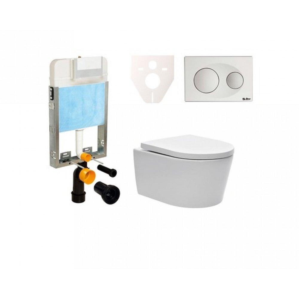 Závěsný set WC SAT Brevis, nádržka SIKO, tlačítko bílé SIKOBW2