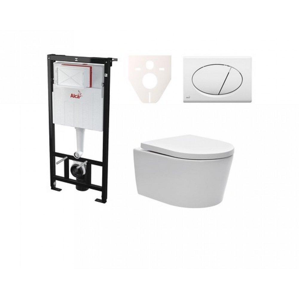 Závěsný set WC SAT Brevis, nádržka Alcaplast Sádromodul, tlačítko bílé SIKOASW1