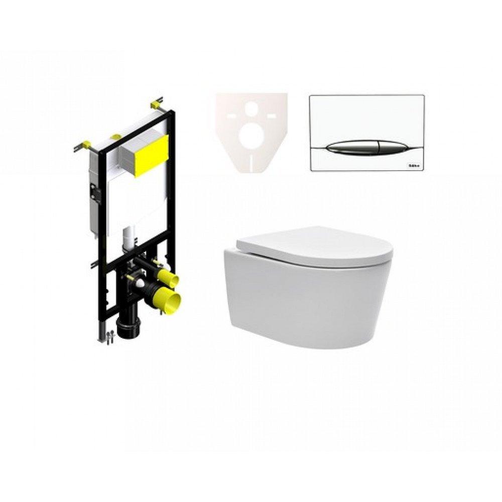 Závěsný set WC SAT Brevis, nádržka SIKO, tlačítko bílé SIKOBSW4
