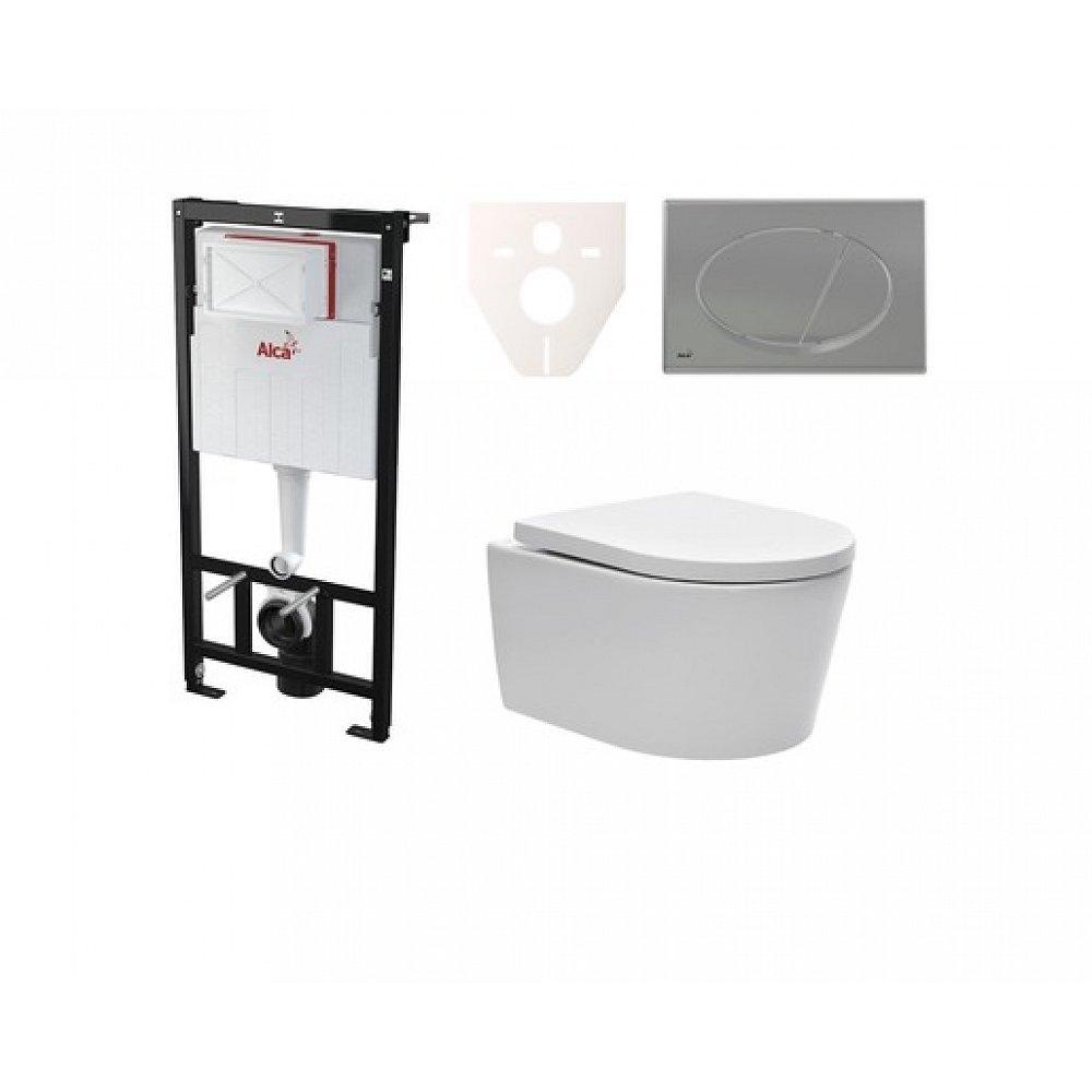 Závěsný set WC SAT Brevis, nádržka Alcaplast Sádromodul, tlačítko CR mat SIKOASW3