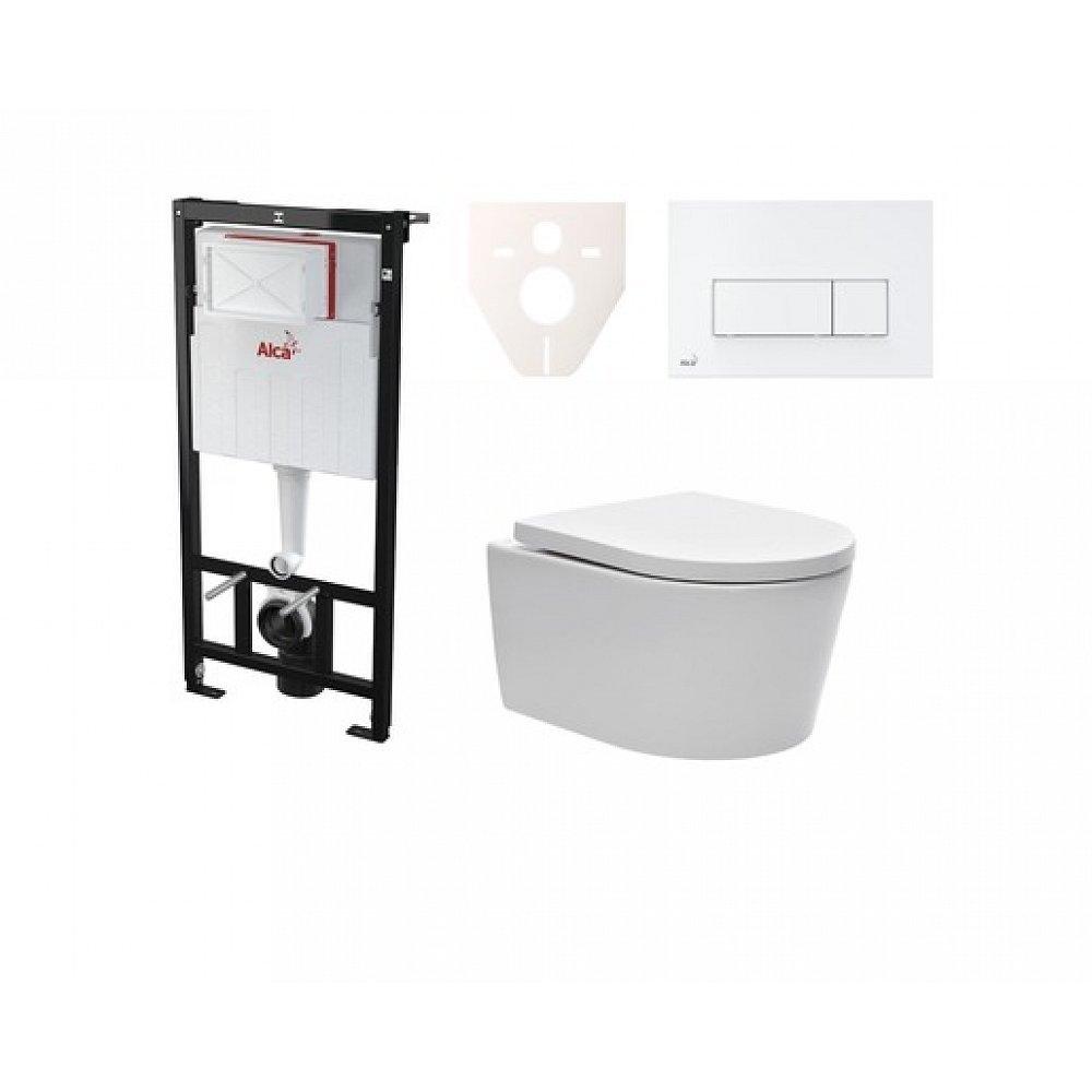 Závěsný set WC SAT Brevis, nádržka Alcaplast Sádromodul, tlačítko bílé SIKOASW7