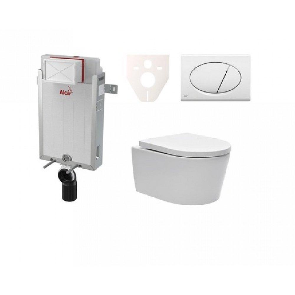 Závěsný set WC SAT Brevis, nádržka Alcaplast Renovmodul, tlačítko bílé SIKOAW1