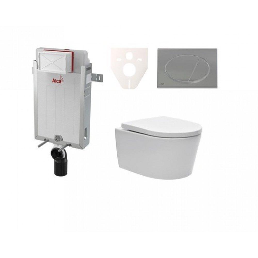 Závěsný set WC SAT Brevis, nádržka Alcaplast Renovmodul, tlačítko CR mat SIKOAW3